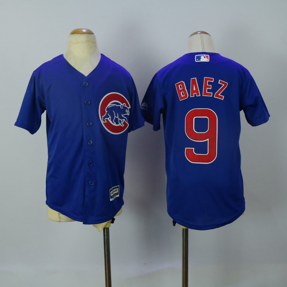 Youth Chicago Cubs 9 Baez Blue MLB Jerseys