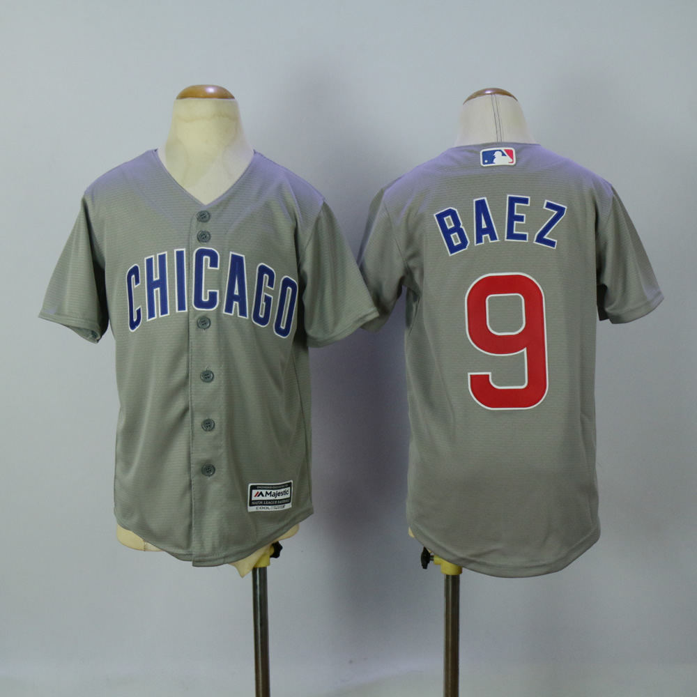 Youth Chicago Cubs 9 Baez Grey MLB Jerseys