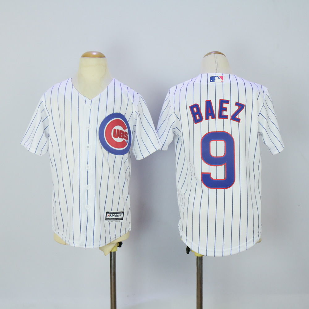 Youth Chicago Cubs 9 Baez White MLB Jerseys