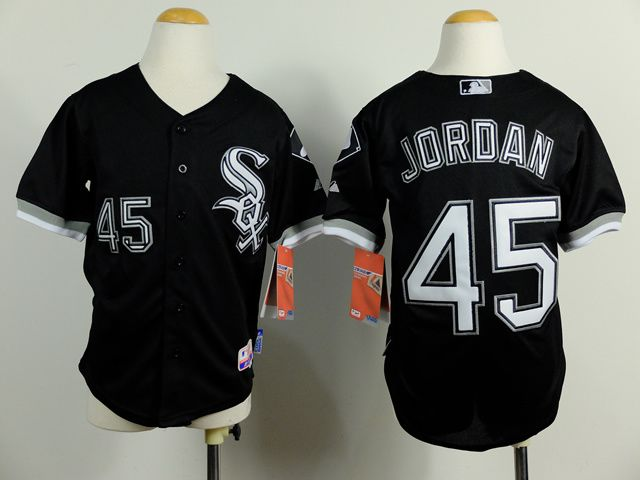 Youth Chicago White Sox 45 Jordan Black MLB Jerseys