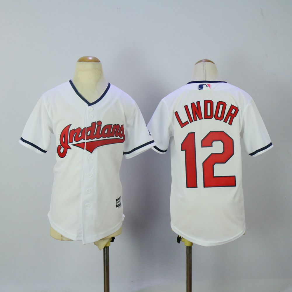 Youth Cleveland Indians 12 Lindor White MLB Jerseys