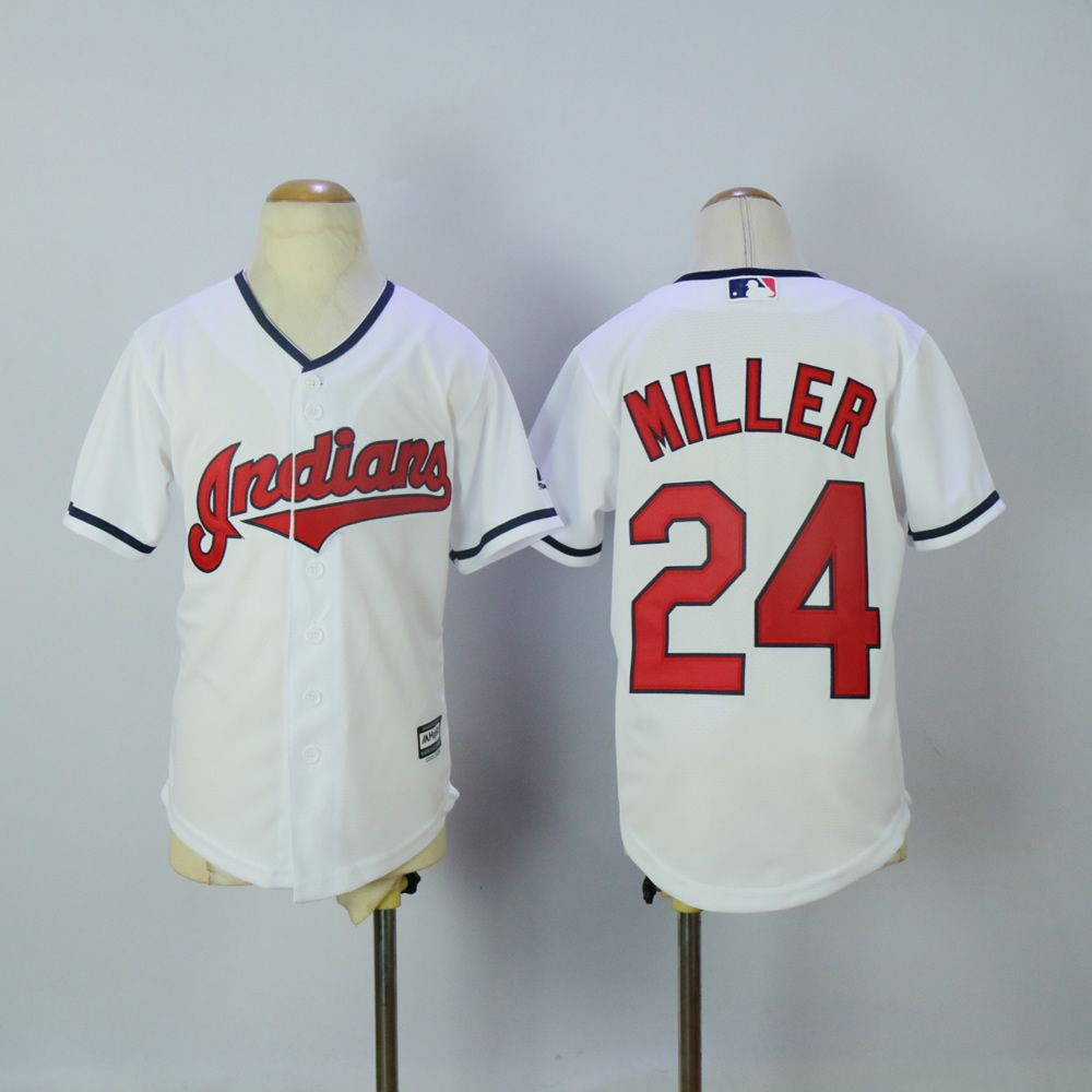 Youth Cleveland Indians 24 Miller White MLB Jerseys