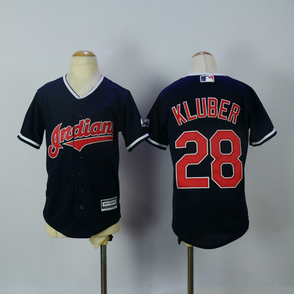 Youth Cleveland Indians 28 Kluber Blue MLB Jerseys