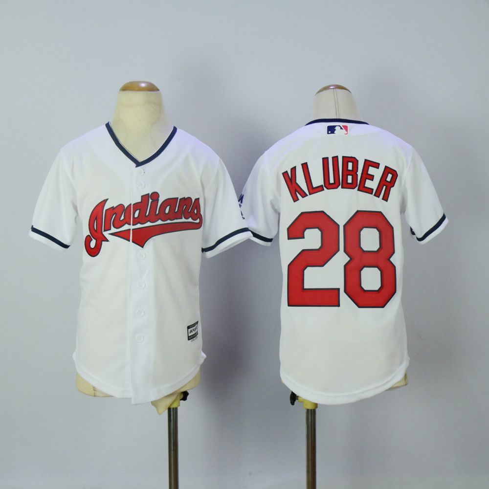Youth Cleveland Indians 28 Kluber White MLB Jerseys