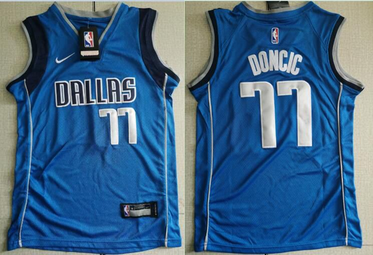 Youth Dallas Mavericks 77 Doncic Blue Nike NBA Jerseys