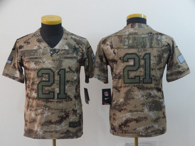 Youth Dallas cowboys 21 Elliott Nike Camo Salute to Service Retired Player Limited NFL Jersey