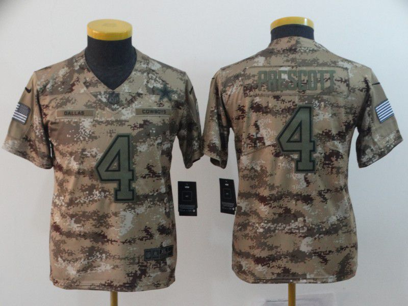 Youth Dallas cowboys 4 Prescott Nike Camo Salute to Service Retired Player Limited NFL Jersey