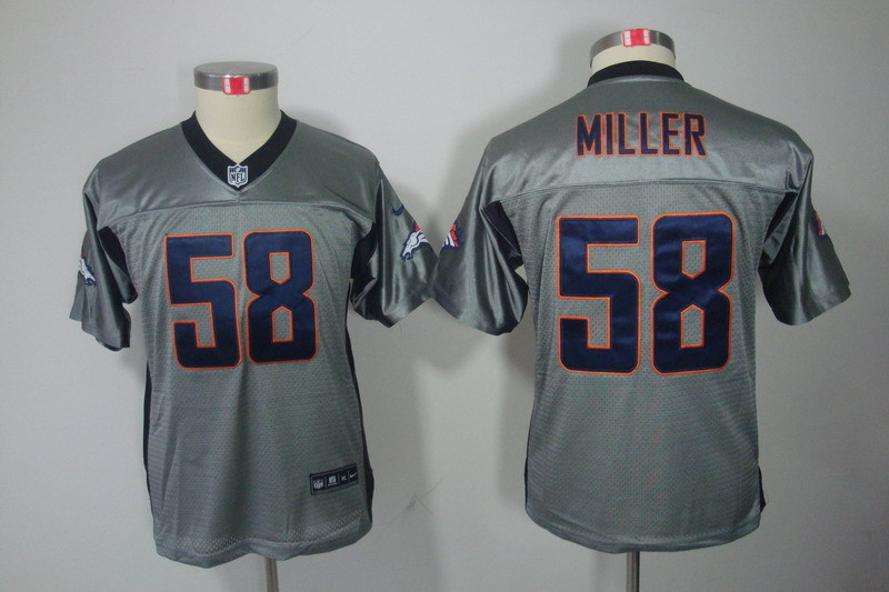 Youth Denver Broncos 58 Miller Grey NFL Nike jerseys