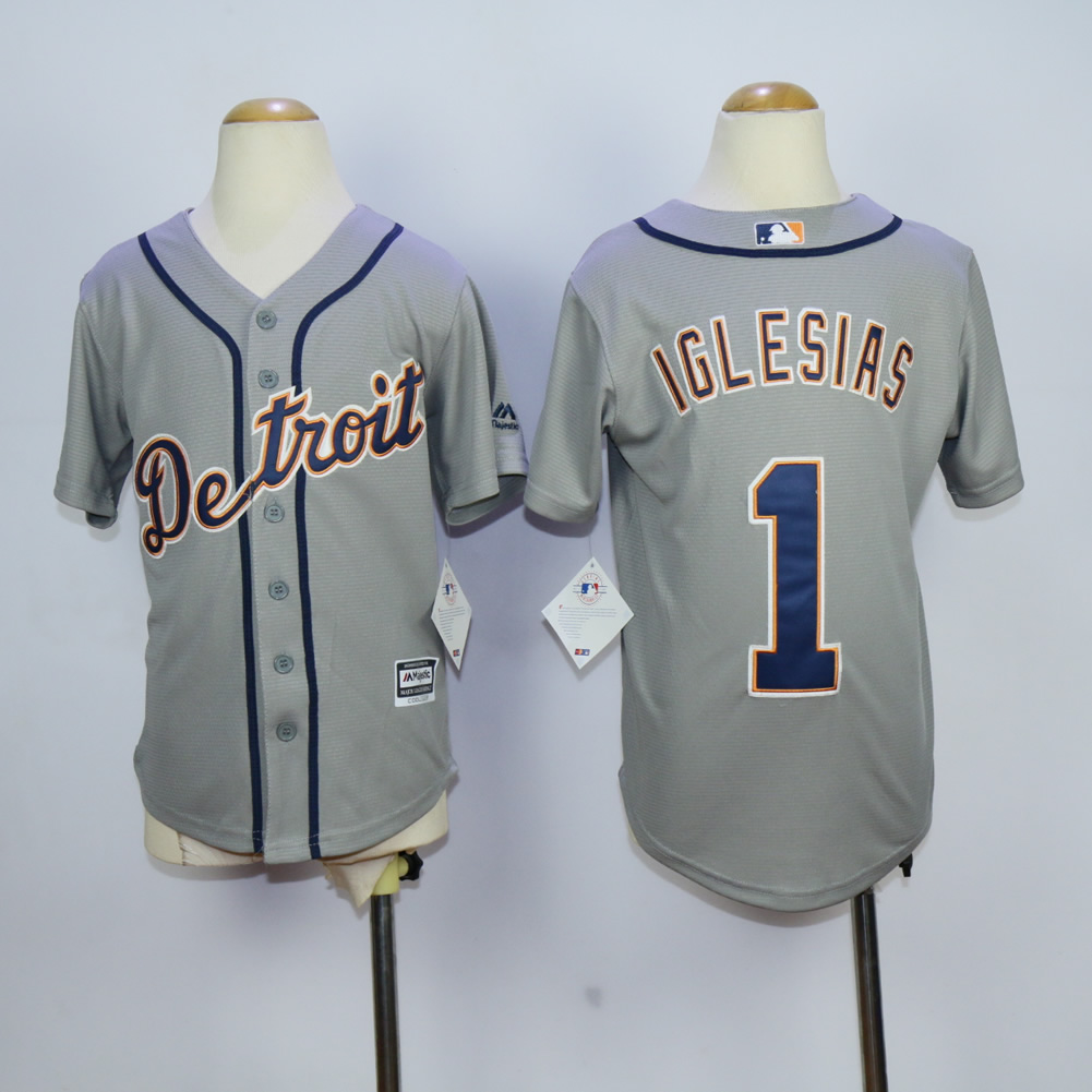 Youth Detroit Tigers 1 Iglesias Grey MLB Jerseys