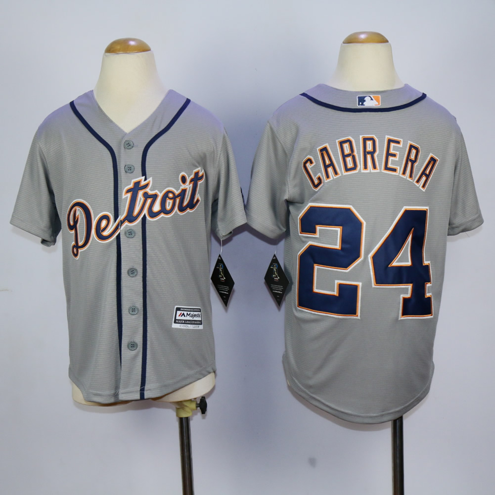 Youth Detroit Tigers 24 Cabrera Grey MLB Jerseys