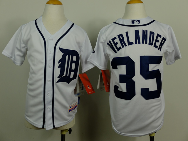 Youth Detroit Tigers 35 Verlander White MLB Jerseys