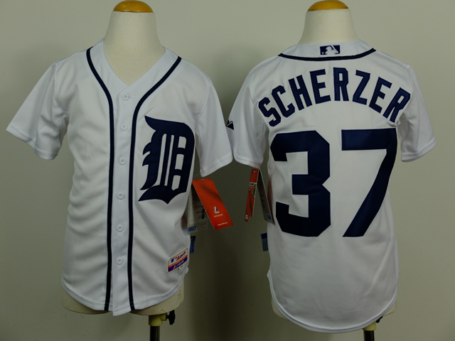 Youth Detroit Tigers 37 Scherzer White MLB Jerseys