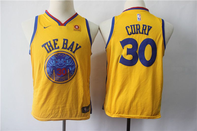 Youth Golden State Warriors 30 Curry Yellow Nike NBA Jerseys