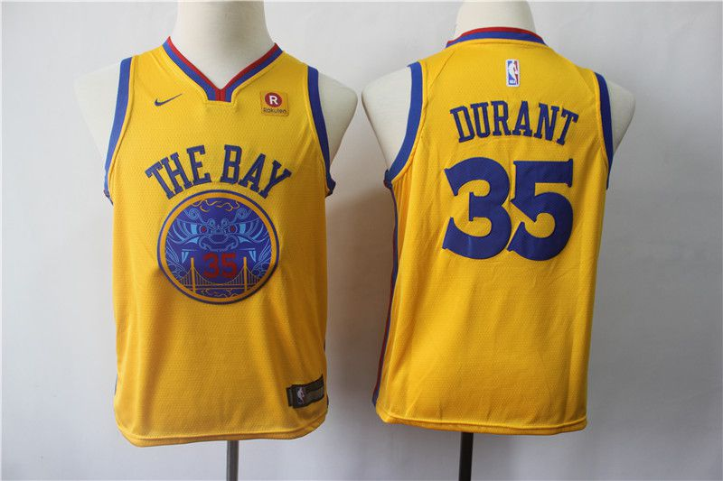 Youth Golden State Warriors 35 Durant Yellow Nike NBA Jerseys