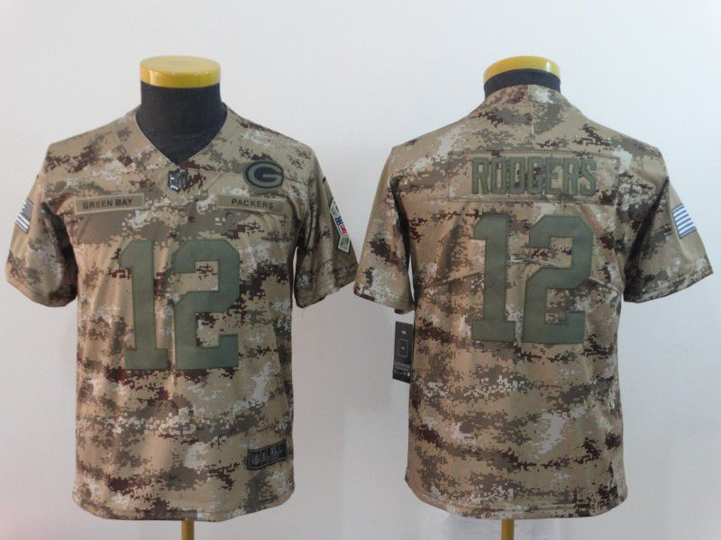 Youth Green Bay Packers 12 Roogers Nike Camo Salute to Service Limited NFL Jersey