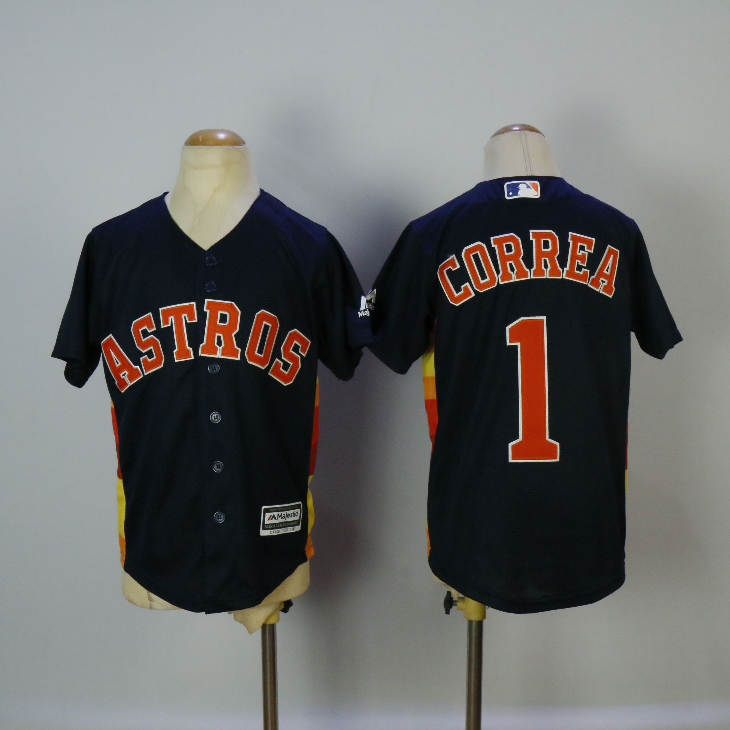 Youth Houston Astros 1 Correa Blue MLB Jerseys