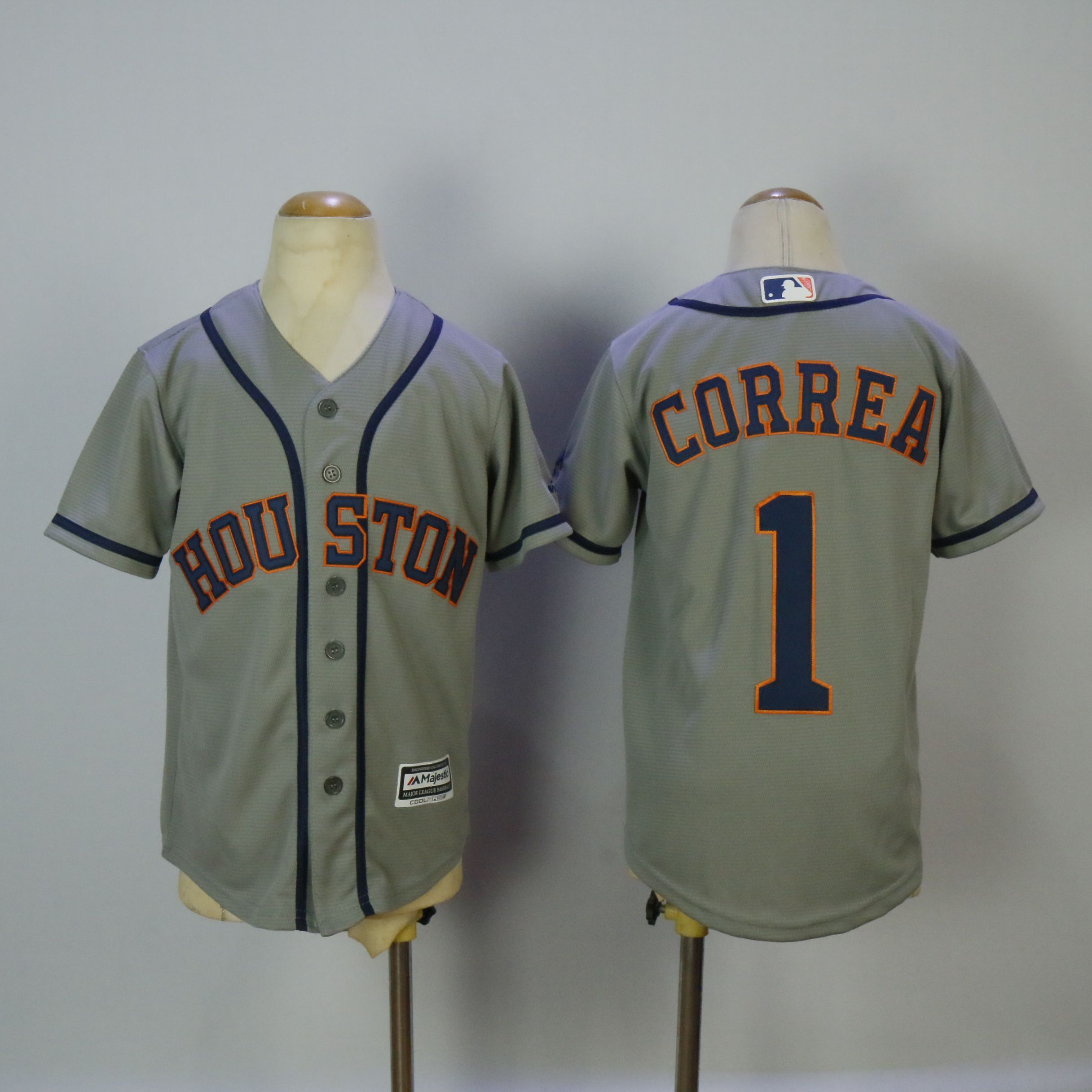 Youth Houston Astros 1 Correa Grey MLB Jerseys