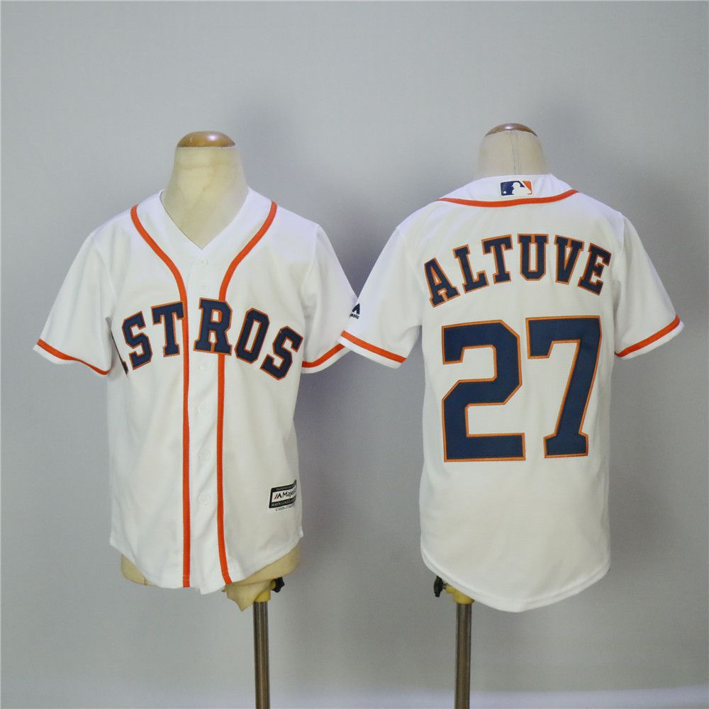 Youth Houston Astros 27 Altuve White MLB Jerseys