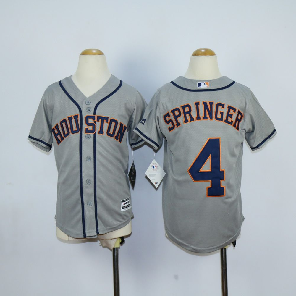 Youth Houston Astros 4 Springer Grey MLB Jerseys