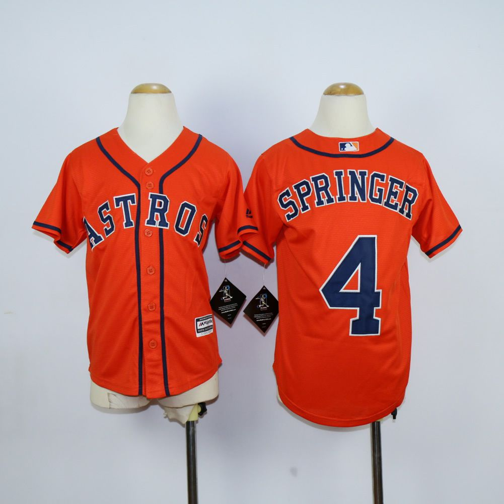 Youth Houston Astros 4 Springer Oragne MLB Jerseys