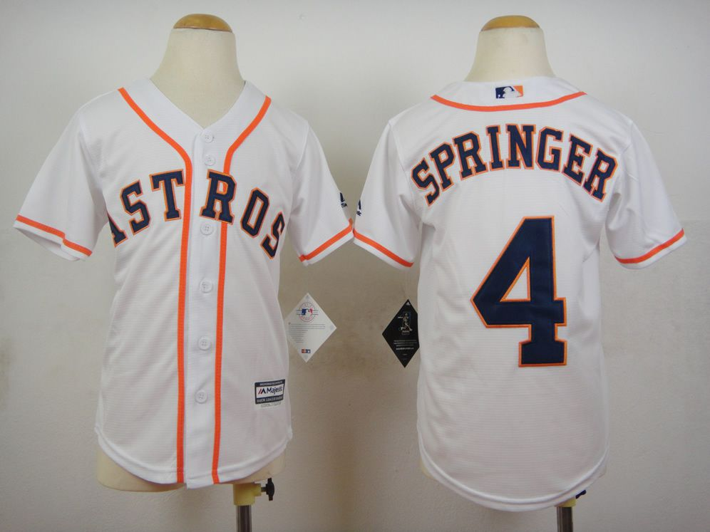 Youth Houston Astros 4 Springer White MLB Jerseys