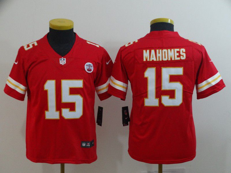 Youth Kansas City Chiefs 15 Mahomes Red Nike Vapor Untouchable Limited NFL Jersey
