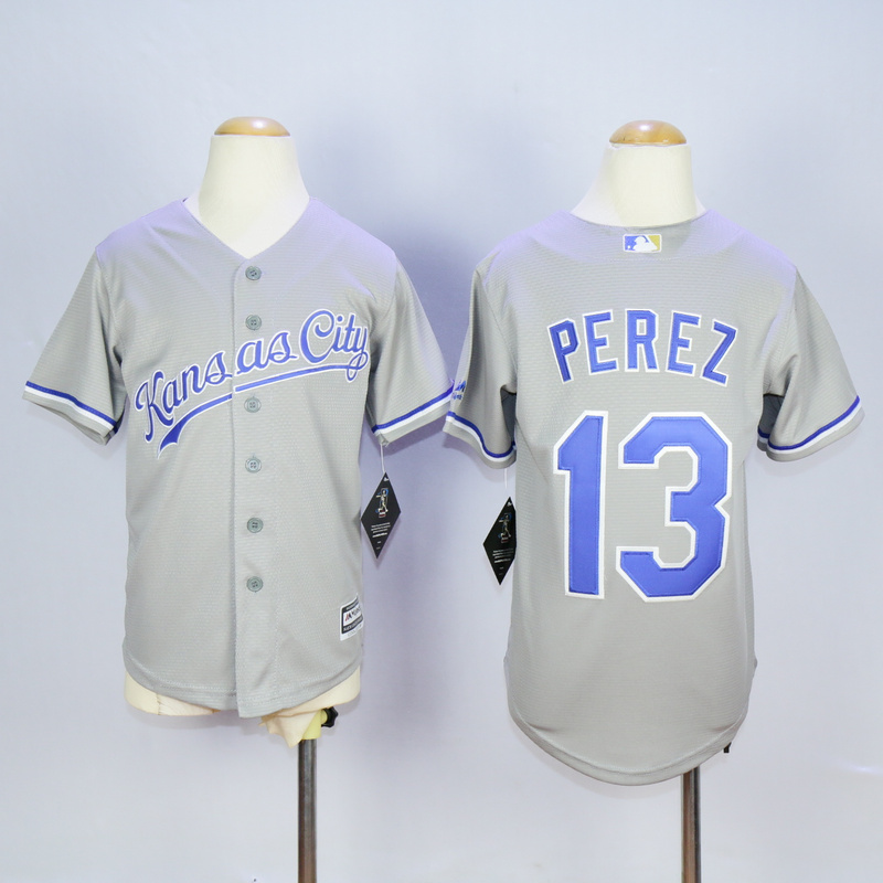Youth Kansas City Royals 13 Perez Grey MLB Jerseys