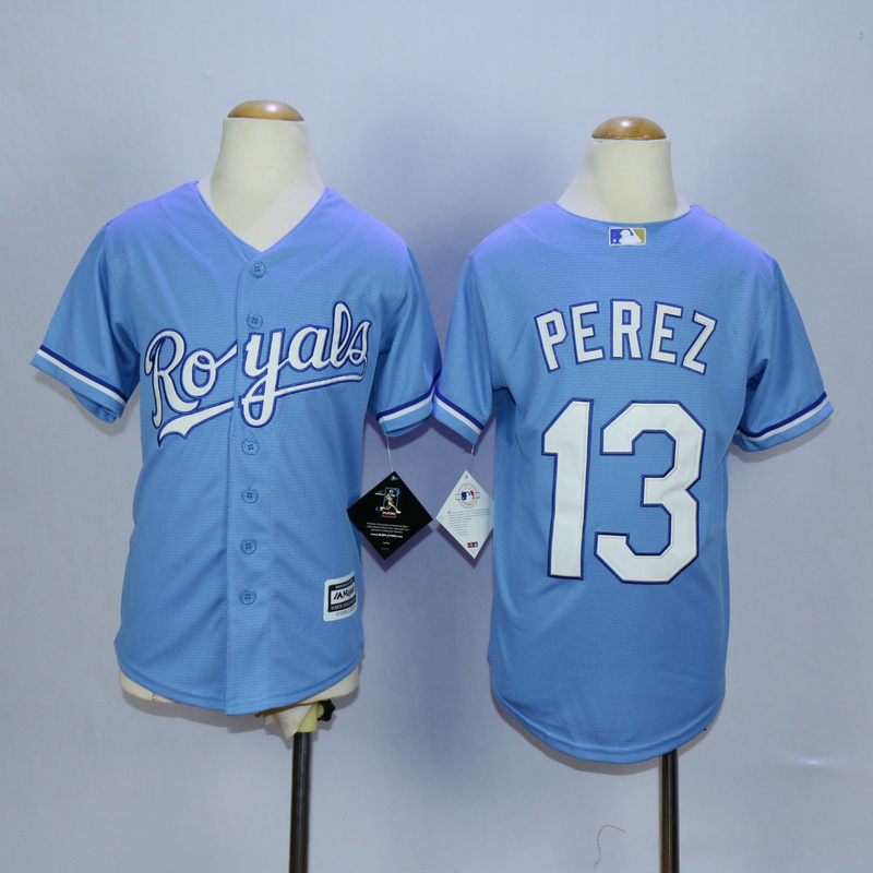 Youth Kansas City Royals 13 Perez Light Blue MLB Jerseys