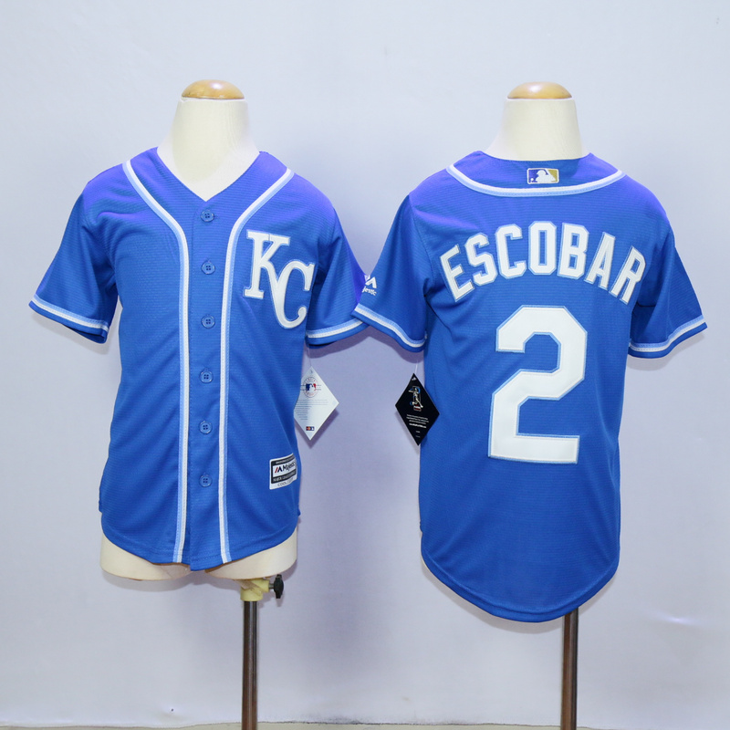 Youth Kansas City Royals 2 Eacobar Blue MLB Jerseys