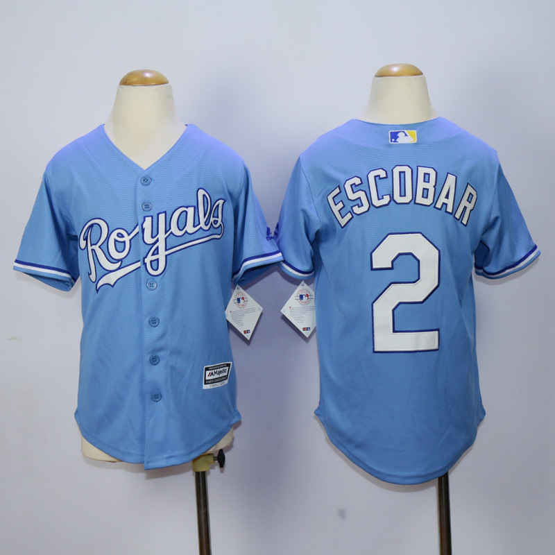Youth Kansas City Royals 2 Eacobar Light Blue MLB Jerseys