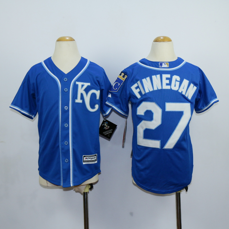 Youth Kansas City Royals 27 Finnegan Blue MLB Jerseys