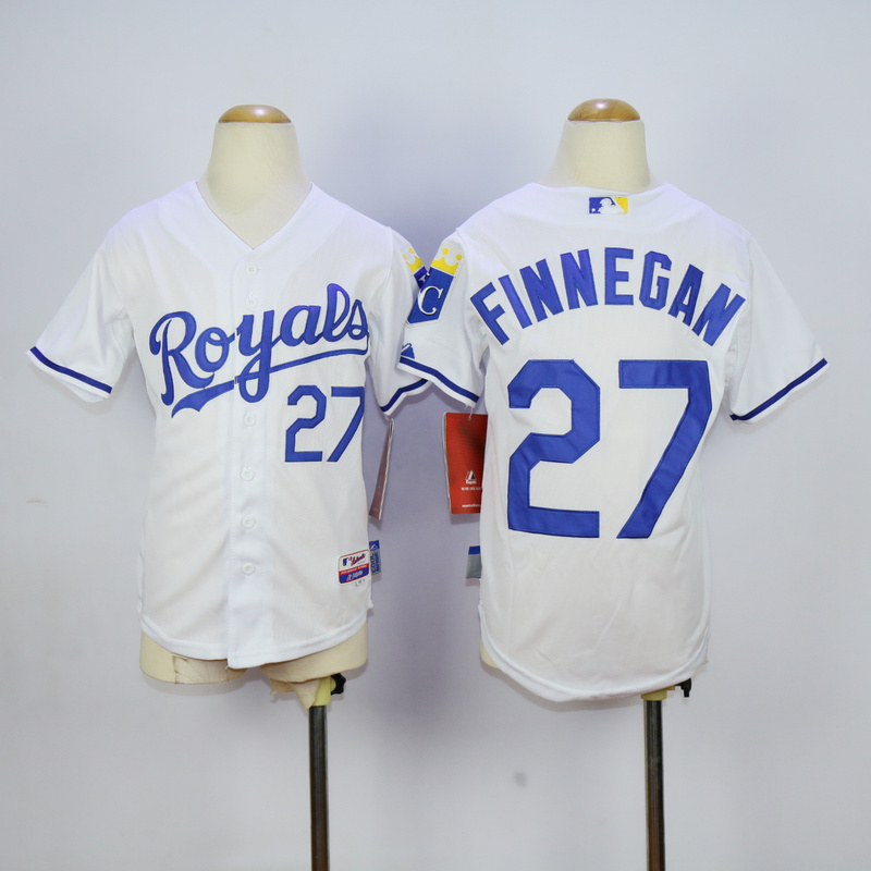 Youth Kansas City Royals 27 Finnegan White MLB Jerseys