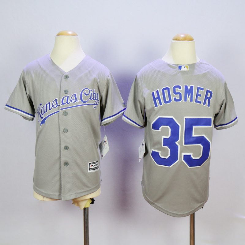 Youth Kansas City Royals 35 Hosmer Grey MLB Jerseys