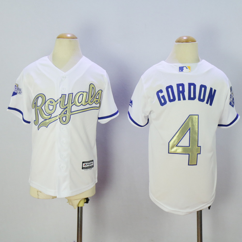 Youth Kansas City Royals 4 Gordon White Champion MLB Jerseys
