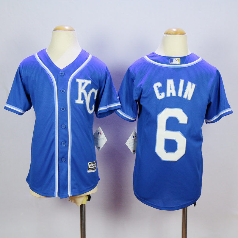 Youth Kansas City Royals 6 Cain Blue MLB Jerseys