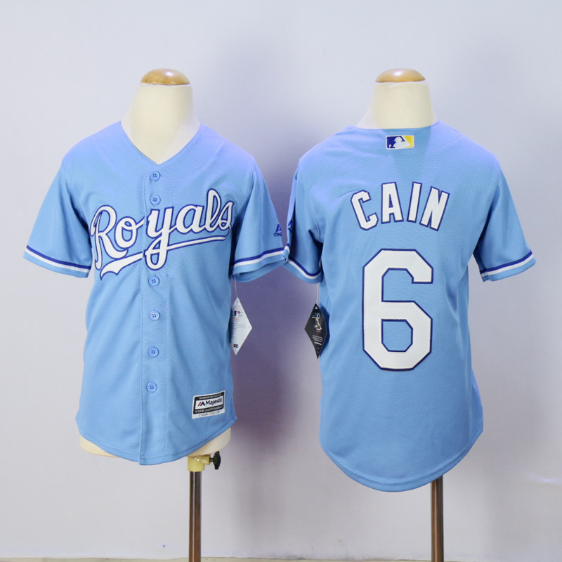 Youth Kansas City Royals 6 Cain Light Blue MLB Jerseys