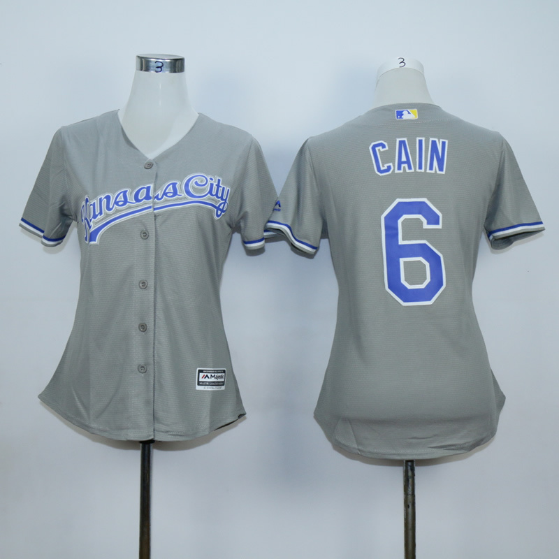 Youth Kansas City Royals 6 Cain Light Grey MLB Jerseys