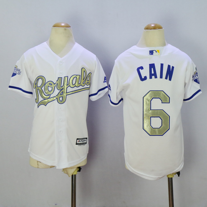 Youth Kansas City Royals 6 Cain White Champion MLB Jerseys