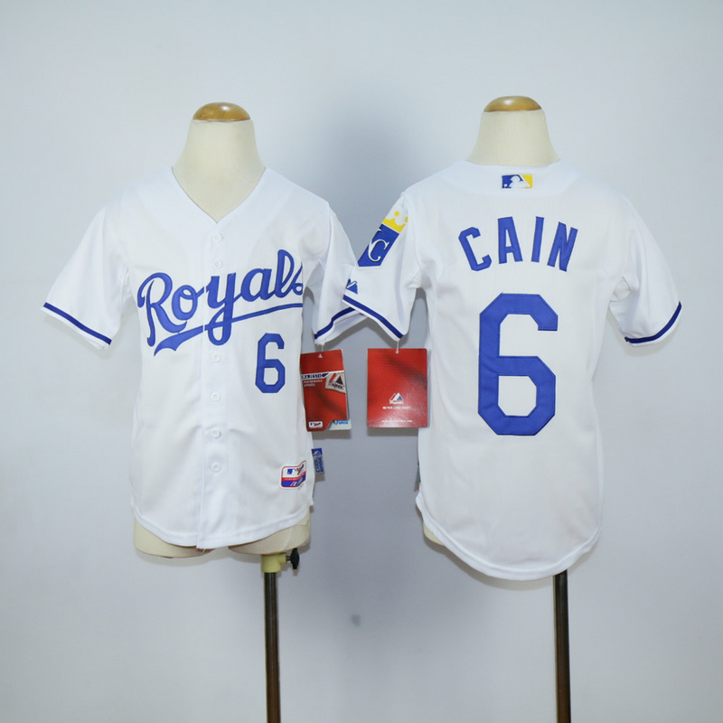 Youth Kansas City Royals 6 Cain White MLB Jerseys