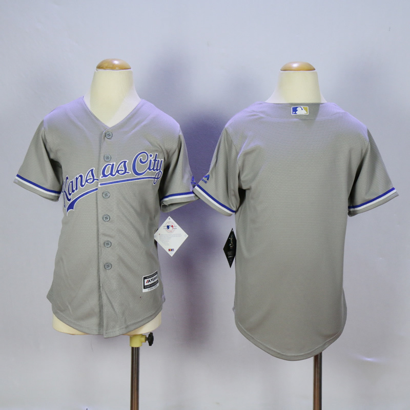 Youth Kansas City Royals Blank Grey MLB Jerseys