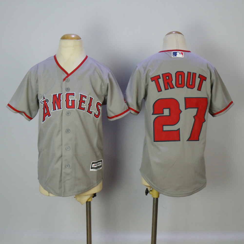 Youth Los Angeles Angels 27 Trout Grey MLB Jerseys