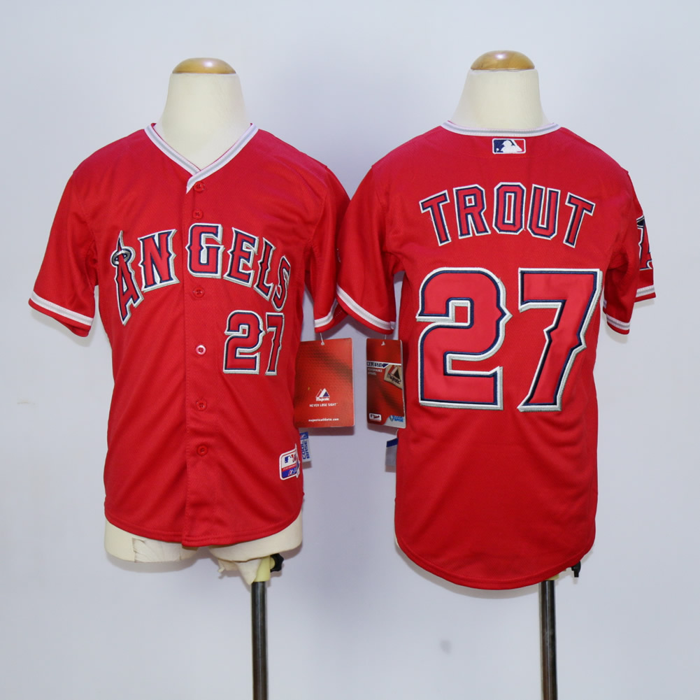 Youth Los Angeles Angels 27 Trout Red MLB Jerseys