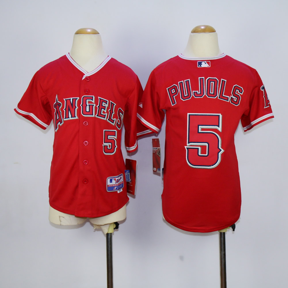 Youth Los Angeles Angels 5 Pujols Red MLB Jerseys