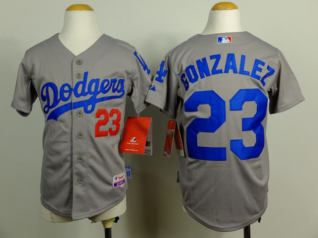 Youth Los Angeles Dodgers 23 Gonzalez Grey MLB Jerseys