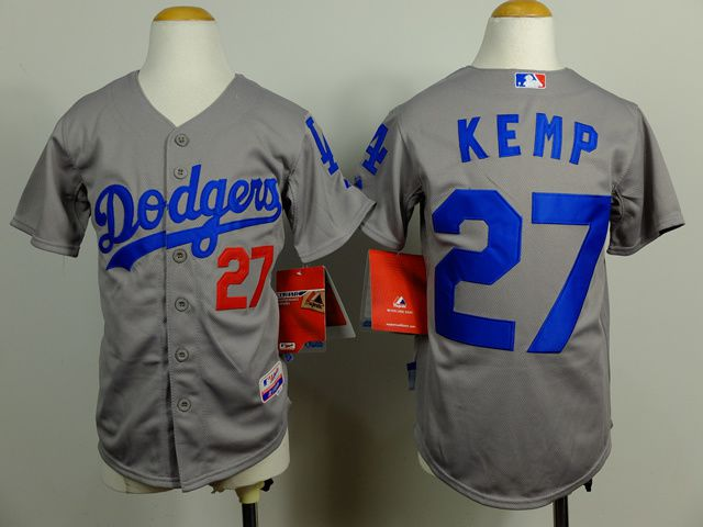 Youth Los Angeles Dodgers 27 Kemp Grey MLB Jerseys