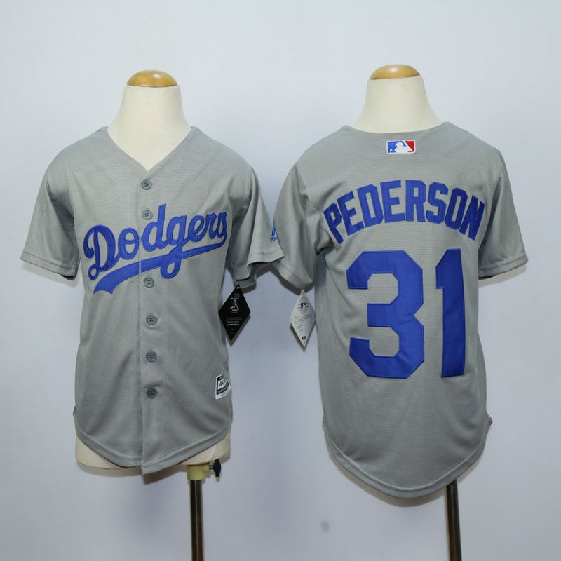 Youth Los Angeles Dodgers 31 Pederson Grey MLB Jerseys
