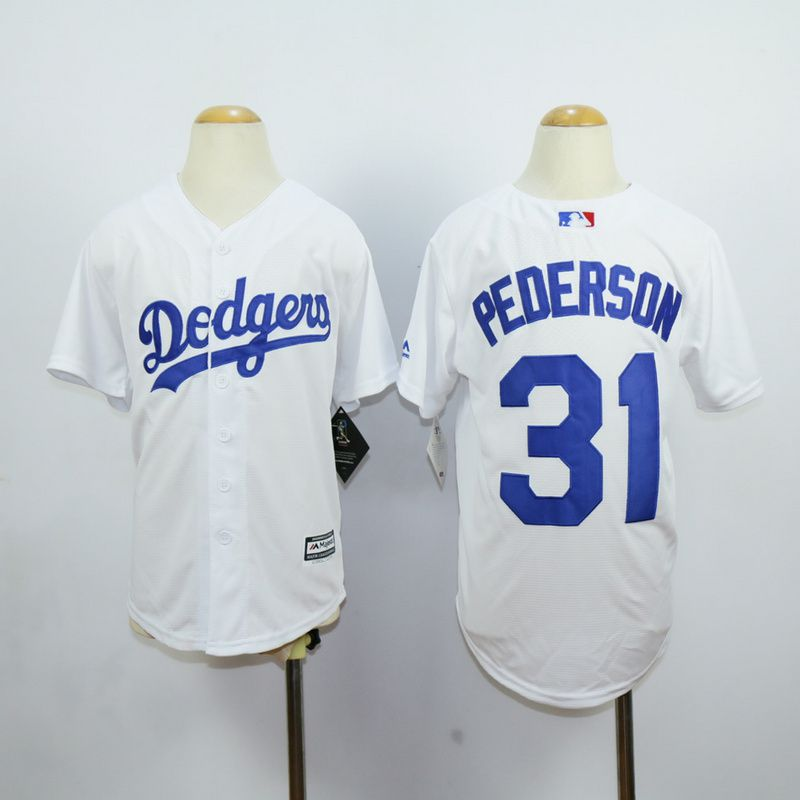 Youth Los Angeles Dodgers 31 Pederson White MLB Jerseys