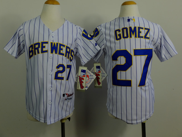 Youth Milwaukee Brewers 27 Gomez White Stripe MLB Jerseys