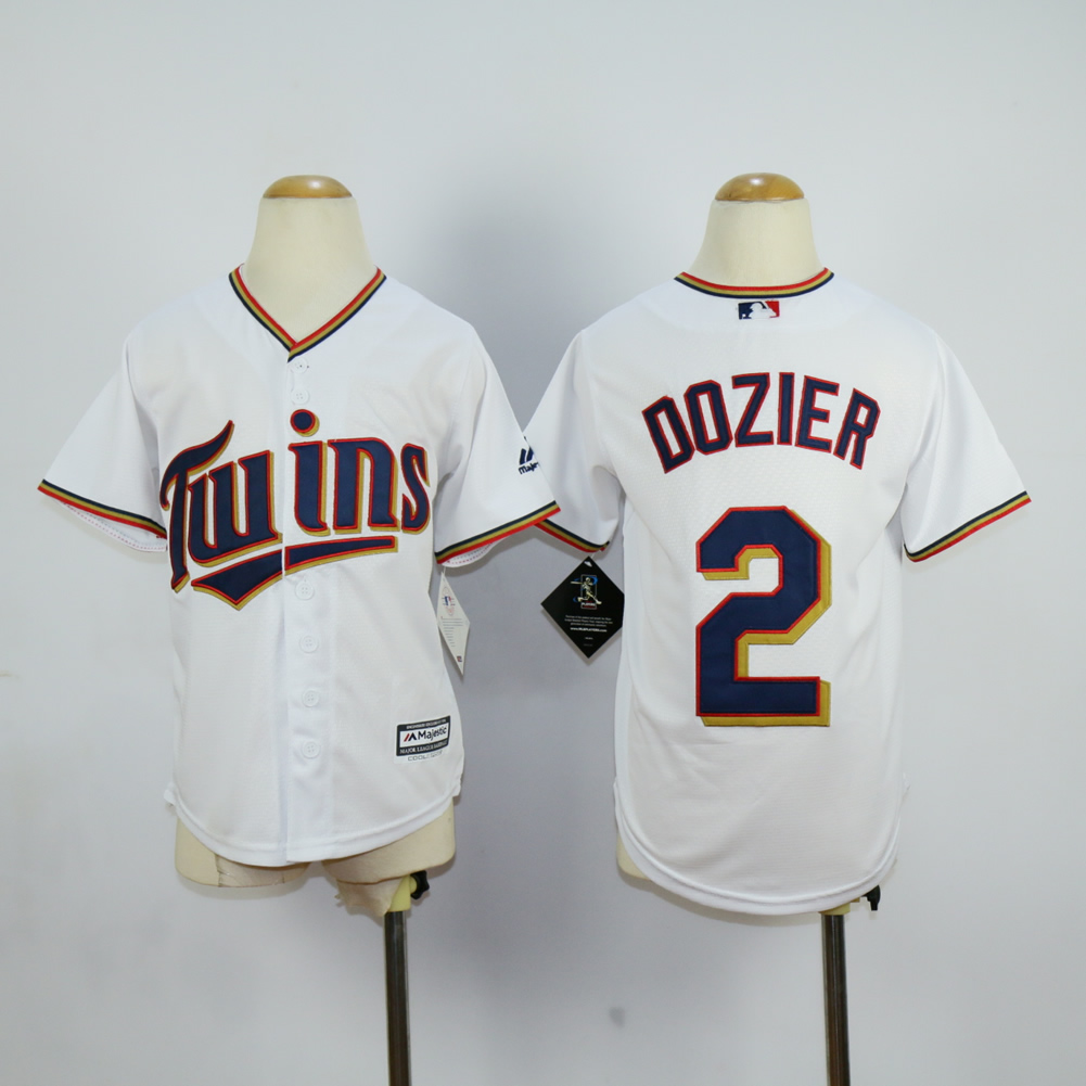 Youth Minnesota Twins 2 Dozier White MLB Jerseys