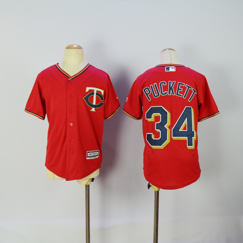 Youth Minnesota Twins 34 Puckett Red MLB Jerseys